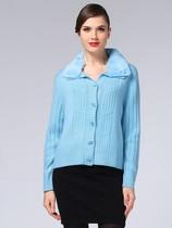 圣雪绒13Q3 100%山羊绒女翻领开衫浅亮蓝11260721661115 115码 价格:649.44