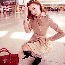 2013秋装新款蕾丝钉珠中长款风衣韩版修身系带双排扣女装外套 价格:138.00