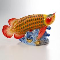 包邮创意陶瓷 珐琅瓷艺术摆件 法兰瓷装饰摆设 创意瓷器 红金龙鱼 价格:888.00