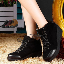 红蜻蜓女鞋休闲鞋摇摇鞋坡跟厚底防水台松糕鞋公主圆头低帮女单鞋 价格:168.00