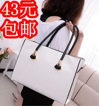 热卖包邮 2013新款黑白格子单肩包斜挎包女士手提包流行淑女包包 价格:43.00