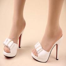 清仓 新款时尚性感超高跟细跟大蝴蝶结防水台罗马风格女孩凉拖鞋 价格:58.80