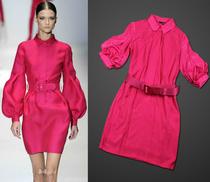 2013欧美外贸女装连衣裙 GUCCI新款灯笼袖配腰带修身连衣裙 价格:270.00