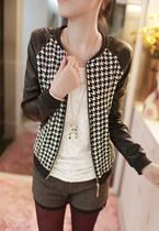秋装新款韩版波纹短款拼接圆领长袖开衫外套女韩版短外套夹克女 价格:125.00