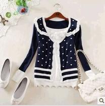 新款春秋韩版女装针织衫开衫V领圆点桃心长袖学生甜美公主外套 价格:39.90
