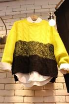 2013秋冬新款韩版粗毛线圆领套头毛衣女宽松长袖针织毛衣外套女装 价格:138.00