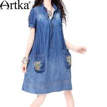 特288阿卡北欧刺绣短袖夏季女装牛仔裙 水洗牛仔连衣裙SN14034X 价格:288.00