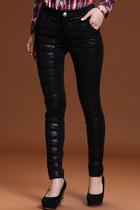 2013冬装新款女装 QS韩版休闲裤子皮拼接浪漫长裤124408509原488 价格:119.00