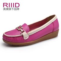 奥康国际RIIID 2013新款女鞋春秋单鞋坡跟低帮鞋休闲皮鞋正品包邮 价格:169.00