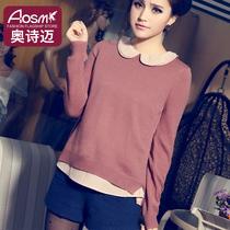 Aosmi 2013新款秋装 甜美拉夏贝尔假两件套头长袖娃娃领毛衣ccdd 价格:138.00