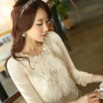 2013秋季新款韩版女装雪纺衫长袖纯色大码胖MM修身显瘦雪纺蕾丝衫 价格:49.00