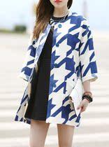 重磅!棉麻茧型轮廓大衣 女七分袖 秋装新款千鸟格子风衣外套潮 价格:179.55