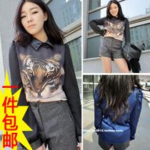 春季新品老虎头雪纺衬衫韩版女装时尚拼皮翻领长袖衬衣打底衫上衣 价格:48.00