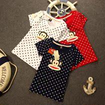 2013夏装专柜原版新品大嘴猴女装圆领纯棉经典猴短袖T恤全身波点 价格:55.00