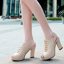 古奇天伦粗跟鱼嘴鞋女款2013新款时尚高跟女鞋凉鞋包邮休闲鞋单鞋 价格:158.00