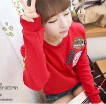 2013新款韩版宽松棒球服圆领长袖套头学生厚加绒卫衣女装秋冬外套 价格:46.00