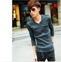 2013夏装秋装森马版型韩版男装上衣服男款男士青年修身V领长袖T恤 价格:59.00
