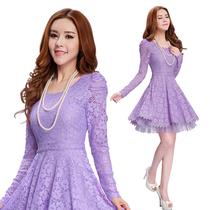 琳丽人2013秋装新款紫色蕾丝裙 韩版修身雪纺衫蕾丝连衣裙长袖343 价格:199.00