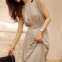 【满意淘】秋装新品气质长款连衣裙韩版女装挂脖高腰修身打底裙子 价格:58.00
