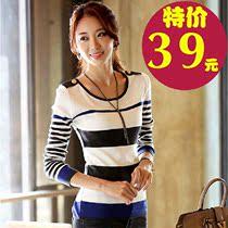 2013秋装新款韩国代购版修身圆领针织衫显瘦长袖女T恤 打底衫女T 价格:39.00