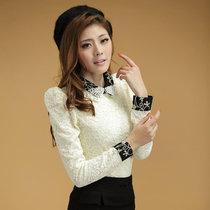 2013新款春装韩版女装钉珠娃娃领复古长袖上衣 蕾丝衫打底衫 价格:80.00