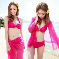 海妮莎2013韩国比基尼泳衣女三件套分体泳装钢托聚拢小胸性感包邮 价格:88.32