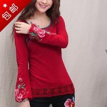 2013秋装新品 民族风绣花长袖女t恤 修身圆领打底上衣 女装长袖 价格:57.80