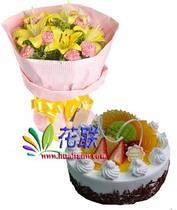 国庆节鲜花松原鲜花蛋糕扶余鲜花蛋糕长岭鲜花蛋糕宁江花店3401 价格:259.00