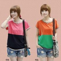 2013夏装新款韩版女装宽松大码纯棉蝙蝠袖拼接短袖女T恤显瘦 潮 价格:27.80