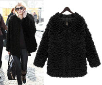 新款2013欧美大牌冬装加厚羊羔毛外套女修身中长款仿皮草毛毛外套 价格:148.00