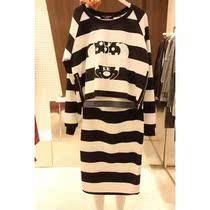 韩国东大门 2013秋装新款黑白横条纹米奇卫衣半身裙休闲套装现货 价格:128.00