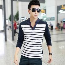 2013秋装新款韩版男装个性长袖t恤条纹修身公子潮男士打底衫大码 价格:50.00