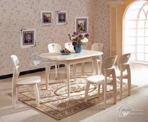 韩式田园白色小户型可折叠拉伸缩实木长方形一饭餐桌四六椅子组合 价格:865.00