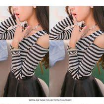 2013秋装新款女装 韩版百搭修身黑白条纹打底衫圆领露肩长袖棉T恤 价格:35.00