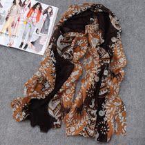 特价处理 新品韩国版正品丝毛混纺长款女围巾真丝丝巾 花样丽人图 价格:47.20