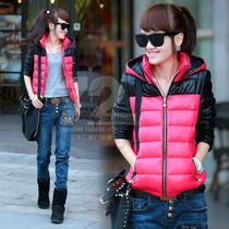 预售七十二变[BM923]2013冬季外套女韩版冬装棉衣女拼色长袖开衫 价格:219.00