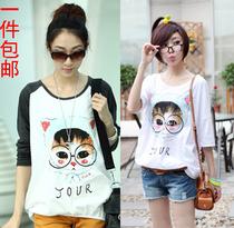 韩国可爱猫头印花女装撞色宽松大码圆领长袖T恤休闲小衫2013秋装 价格:49.00