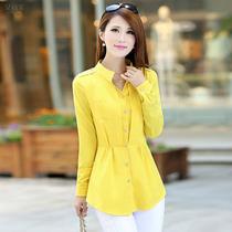 2013秋装新款韩版女装长袖大码雪纺衫显瘦收腰上衣 中长款雪纺衫 价格:108.00