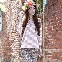 【天天特价】新款秋装日韩版纯棉小清新条纹长袖女t恤打底衫上衣 价格:55.00