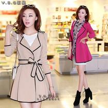 风衣女款2013新款韩版修身显瘦秋冬装 双排扣中长款大码女式外套 价格:180.00
