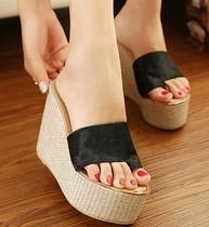 2013爆款新款欧美风真皮马毛套趾坡跟凉拖鞋高跟厚底松糕女拖鞋 价格:69.90
