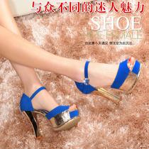 古奇天伦772 性感粗跟鱼嘴鞋休闲女鞋 防水台凉鞋 锥形跟女高跟鞋 价格:168.00