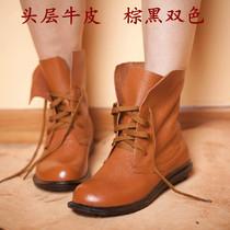 吐火罗短靴手工原创头层牛皮前系带圆头平跟马丁靴素人森女单鞋秋 价格:198.00