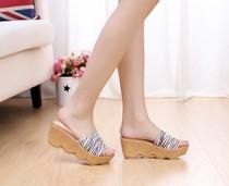 2013新款专柜正品百丽厚底松糕凉鞋坡跟凉拖鞋女式单鞋女士拖鞋子 价格:186.00