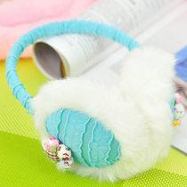 创意包邮 冬季保暖耳套 女士波条纹加小花毛绒保暖耳罩批发 可爱 价格:9.98