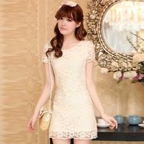 2013夏新款 韩版镂空显瘦短袖蕾丝连衣裙 新款名媛包臀修身公主裙 价格:99.42