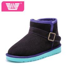 撞色雪地靴情侣款冬靴拼色男女靴子真皮短靴冬季棉靴平底拼接女鞋 价格:139.00