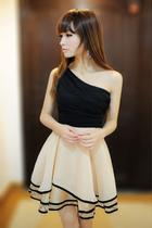 韩国气质女装夏季夜店性感显瘦单肩蓬蓬连衣裙斜肩晚礼服伴娘裙 价格:35.00