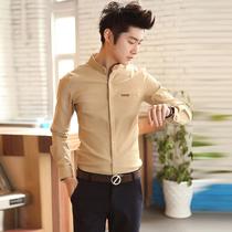 秋天男装韩版修身长袖衬衫时尚休闲衬衣潮流男士立领纯色英伦寸衫 价格:75.00