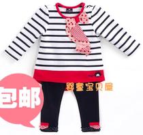 原单正品 2013春秋款童装allo lugh女童女宝长袖条纹阿路和如套装 价格:96.00
